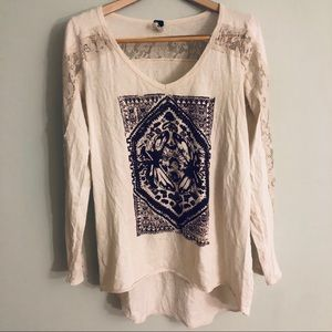 Free People Off White high-low long sleeve